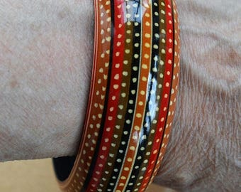 On sale Colorful Vintage Orange, Red, Brown Wooden Bangle Bracelet, Tribal, Summer