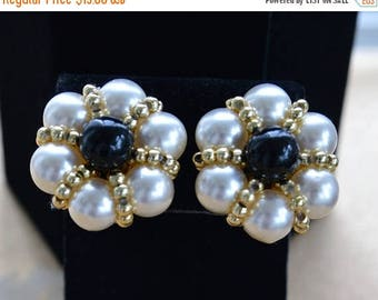 ON SALE Faux Pearl, Faux Onyx Cluster Clip Earrings, Gold tone, Vintage (H2)