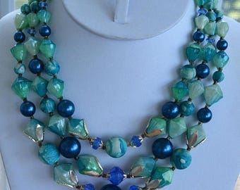 "ON SALE Pretty Vintage Blue, Green Plastic Beaded Multi-Strand Necklace, Hong Kong, 15""-17"" (AL14)"