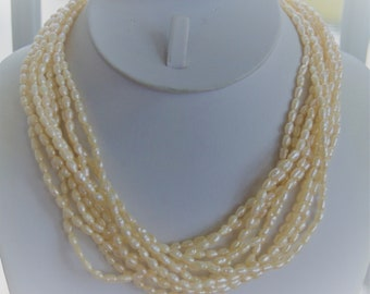 "Freshwater Pearl Multi-strand Necklace, 14K Clasp, Vintage, 17"" (TB301)"