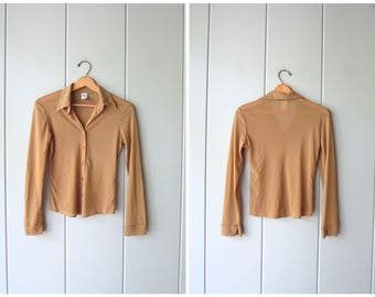 Brown Beige Sheer Blouse 90s Minimal Button Up Top Sexy Stretch Mesh Blouse Modern Secretary Collared Shirt Vintage Womens Small Medium