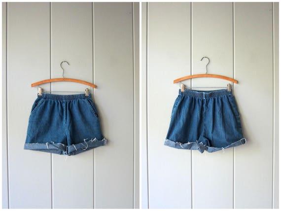 Dark Blue Jean Shorts 80s Elastic Waist Denim Shorts Cotton Shorts Chic Brand MOM Shorts with Pockets Vintage Beach Shorts Women 6 Small