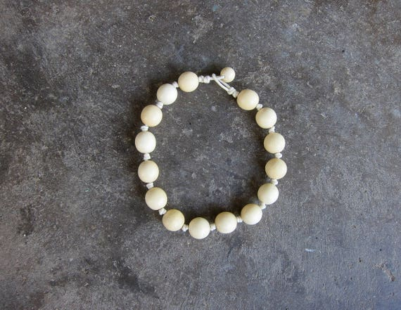 Natural Choker Necklace Minimal Knotted Rope Bead Necklace Beaded Wooden Bead Gumball Wood Costume Jewelry