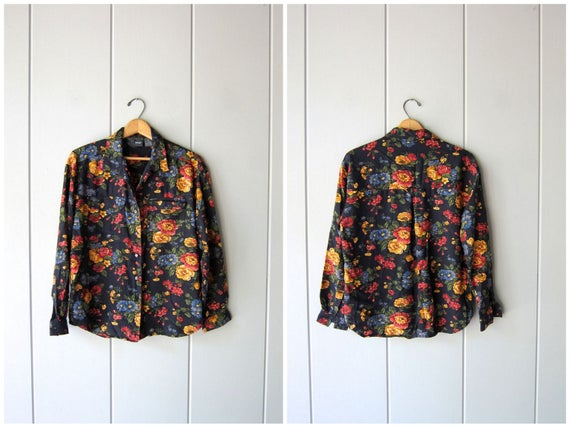 90s Floral Blouse Button Up Navy Blue Red Yellow Floral Blouse Long Sleeve Boho Top Preppy Blouse Peasant Revival Shirt Womens Medium Petite