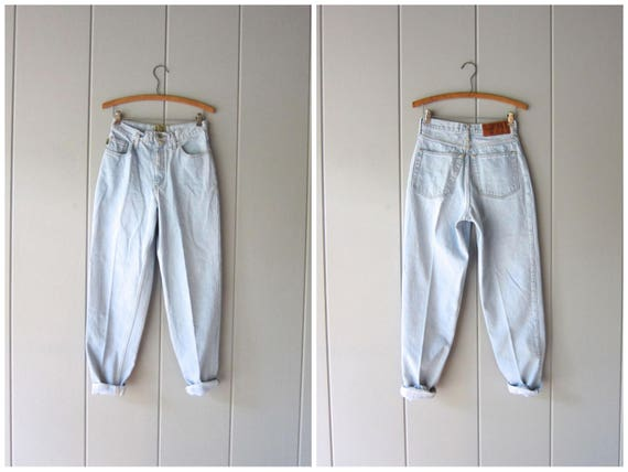 80s Jeans Washed Out Light Blue ESPRIT 1980s High Waist Jeans Minimal Hipster Jeans Tapered Leg Skinny Mom Jeans Womens XS Small Waist 26