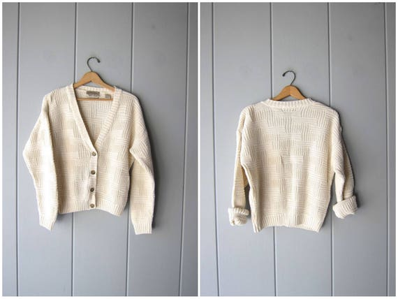 80s Natural White Cotton Ramie Sweater Button Up Cardigan Boxy Cropped Minimal Woven Sweater Vintage Preppy Basic Slouchy Womens Small