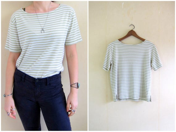 Basic Cotton Tee Shirt White Boxy Top 90s Short Sleeve Shirt Green Beige Striped Pullover Shirt Hipster Minimal Simple Womens Medium