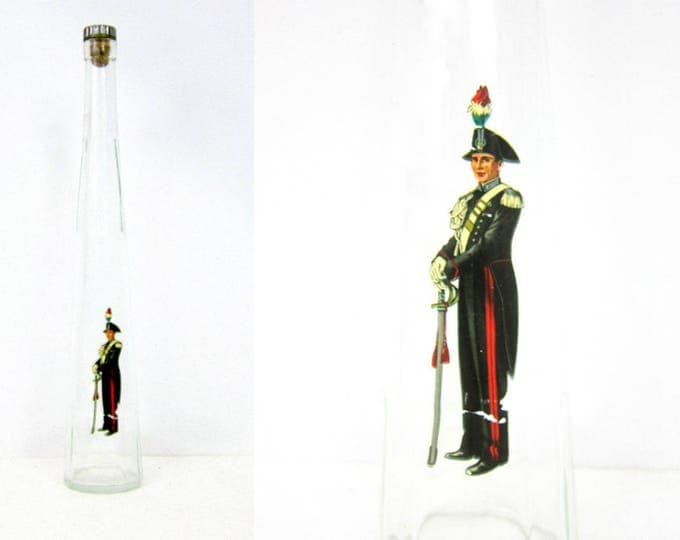 Vintage Tall glass Galliano Liquore Whiskey Bottle decanter with Lid Cork Clear Glass Soldier Decal Made in Milana Italy DRL
