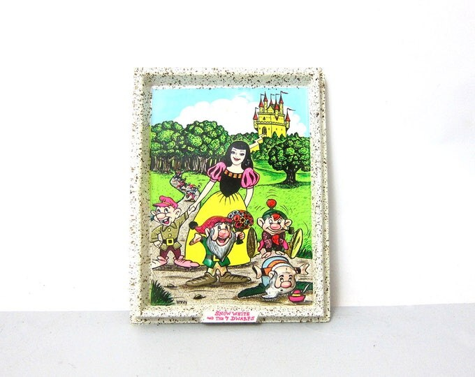 3D Snow White and the Seven 7 Dwarfs Wall Hanging Plastic Iversen Disney Picture Children's Room Decor Kid's Nursery Disneyana Fairy Tale