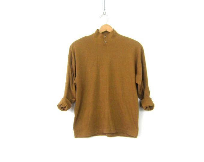 Ochre Brown Shirt 90s Mock Neck Henley Collar Button Top Thermal Layering Shirt Minimal Long Sleeve Top Shirt Womens Size Large