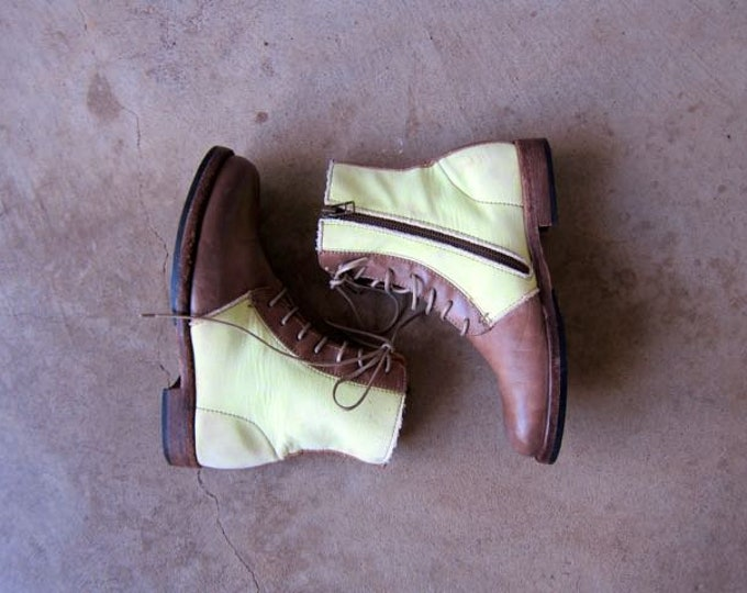 90s Fabric & Leather Ankle Boots Vintage Brown Zip Up Boots Side Zipper Combat Boots Hipster Boho Grunge Booties Italian Womens 8 / 38