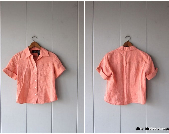 Natural Linen Crop Top Cropped Pink Minimal Button Up Short Sleeve BOXY Tee 90s Modern Linen Basic Top Vintage Womens Small Medium Size 8