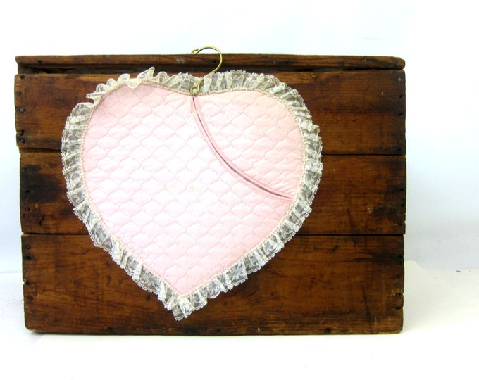 Pink Heart Lingerie Bag Vintage Hanging organizer Wall Hanging Mid Century Storage Bag Quilted Heart with Lace Trim