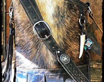 GIANNA Brazilain brindle cowhide crossbody purse