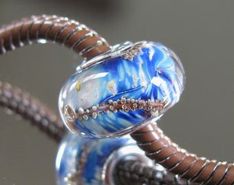 """Tangled Sky Glass """"Heaven"""" #2 Fully Sterling Silver Lined Lampwork Charm Bead BHB"""