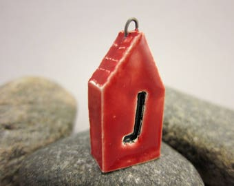 Red *J*...TWO-SIDED House Pendant by elukka