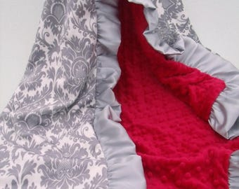 SALE Gray Damask and Red Minky Dot Blanket.....more colors available Can Be Personalized