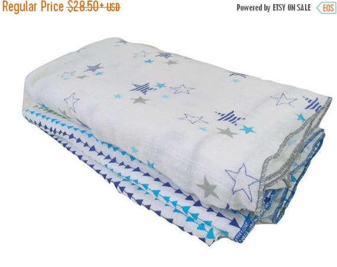 SALE Aqua, Navy and Gray Muslin Cotton Swaddle Blankets, Embroidered Lightweight Cotton Summer Baby Blanket, Gray and White Cotton Baby Blan