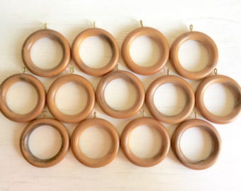 Vintage Dark Wood Wooden Rings Round Pieces with Gold Metal Eye Hooks 12 13 Dozen