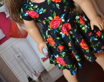 18 inch Doll Clothes - Tie Back Dress - Midnight Floral - Roses - RED BLACK GREEN - fits American Girl