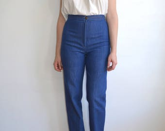 Vintage 70s High Waisted Denim with Stretch/ High Rise Pocketless Straight Leg Pants/ size 28 29