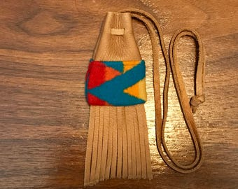 Fringed Medicine Bag / Amulet Bag Wool & Leather Handcrafted With Pendleton Woolen Mills Fabric