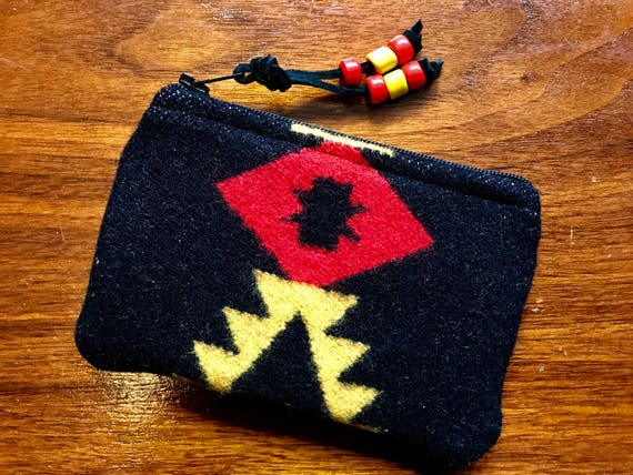 Wool Coin Purse / Phone Cord / Gift Card Holder / Zippered Pouch XL Black & Red