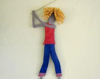Metal Wall Art Lady Golfer Sculpture Blonde Golfing Wall Decor Sports Figure Red Orange Blue Female Athlete 8 x 21