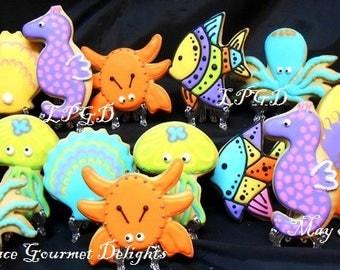 Sea Life Cookies- Octopus- Jelly Fish- Crab- Seahorse- Shells- Fish- Surfboards - Decorated Cookies - 14 Cookies