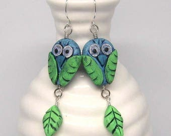 Blue Green Owl Earrings, whimsical polymer clay owls on sterling silver wires