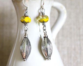 Silver and Yellow Earrings, Gray and yellow earrings, Czech glass earrings, Bali style earrings, modern vintage style earrings