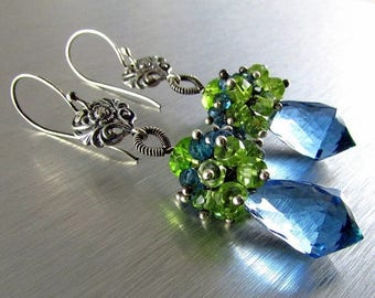 25 OFF London Blue Quartz, London Blue Topaz and Peridot and Vesuvianite Cluster Sterling Silver Earrings