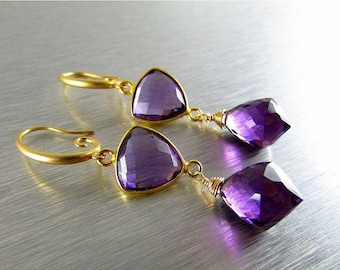25 OFF Purple Quartz Wire Wrapped Gold Filled  Earrings