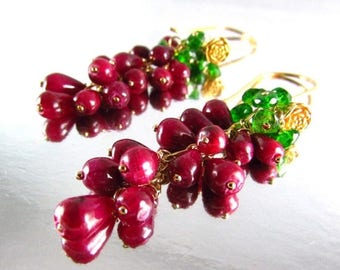 25 OFF Ruby and Chrome Diopside Gold Filled Cluster Earrings