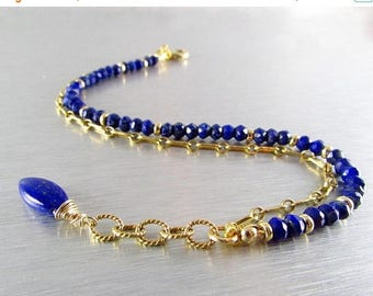 25 OFF Lapis And Gold Filled Double Strand Stacking Bracelet,