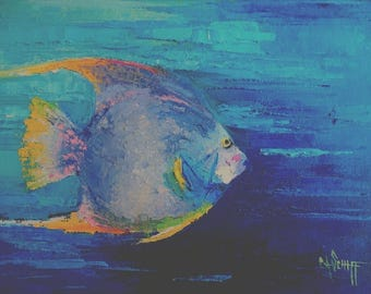"""Tropical Fish Painting, Fish Palette Knife Painting, 9x12x.75"""" Original Beach Decor, Free shipping in US"""