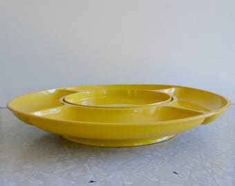 lacquerware lazy susan snack tray, bright yellow large appetizer crudite tray with compartments, spins on base, made in japan, midcentury