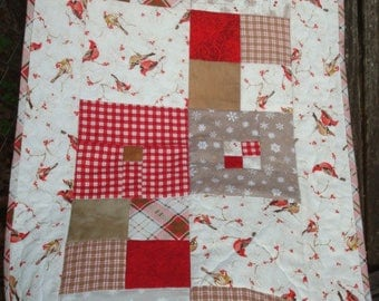 Winter Cardinal Red and White Quilted Table Runner