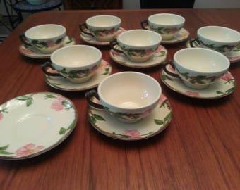 Set of 8 Franciscan Desert Rose Cups & Saucers