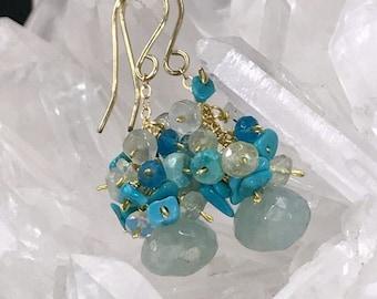 FLASH SALE Aquamarine Earrings Gemstone Cluster Earrings Sleeping Beauty Turquoise 14kt Gold Fill Wire Wrap Apatite Aquamarine Blue Grey Ear