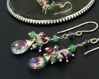Mystic Topaz Earrings Long Dangle Earrings Multicolor Gemstone Cluster Sterling Silver Wire Wrapped Colorful Rainbow Gemstones