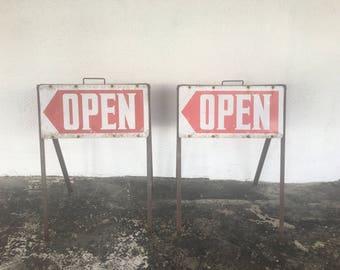Vintage Open Floor Signs folding Metal For Display or Storefront