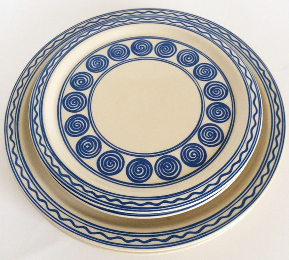 Vintage Melitta Plates, Cake/Salad/Dinner Dishes, 1970s stoneware Mid Century Modern, Blue circles swirls, Set of 4