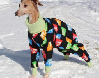 """Italian Greyhound Beatles Fleece PJs, Small Dog pajama onesie with turtleneck, Size 13""""-14"""" (10024)  Chinese Crested, Min Poodle, Min Pin"""
