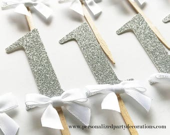 1 Silver Glitter Cupcake Toppers, Boy 1st birthday party, 2nd birthday, 3rd birthday, glitter party decorations – Quick & Free Shipping