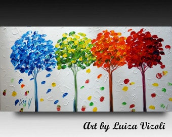 HUGE 72 x 36 Painting on Canvas SEASONS Large Abstract Red Blue Green Orange White Trees Artworb by Luiza Vizoli Other Sizes available