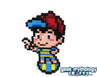 Ness - Nintendo Earthbound Super Smash Bros - Perler Bead Sprite Pixel Art Figure Stand or Lanyard Necklace