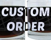 Pair of Etched Old Fashioned Glasses w/ Custom Logo