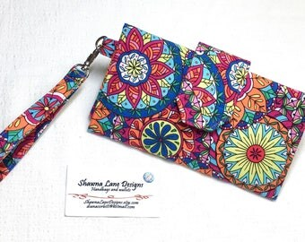 women's wallet, colorful bold floral print, organizer wallet, checkbook, cell phone accessory, wristlet, small purse, ready to ship gift