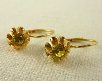 Vintage 14K Gold and Synthetic Yellow Sapphire Earrings